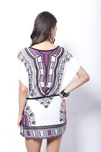 Damen Druckkleider Freizeitkleider Minikleid Freizeitkleid Fledermausärmel Rundkragen Tailliert Gürtel Vintage Lila