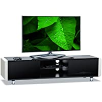 "Centurion Supports CAPRI Gloss Black with White Sides Beam-Thru Remote Friendly 32""-65"" Flat Screen TV Cabinet"