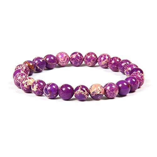 Jade-schmuck Frauen Für (GOOD.designs Chakra Perlenarmband aus 8 mm oder 10 mm Meeressediment Jaspis Natursteinen, Chakraarmband aus Jade für Damen und Herren (Lila 8mm))