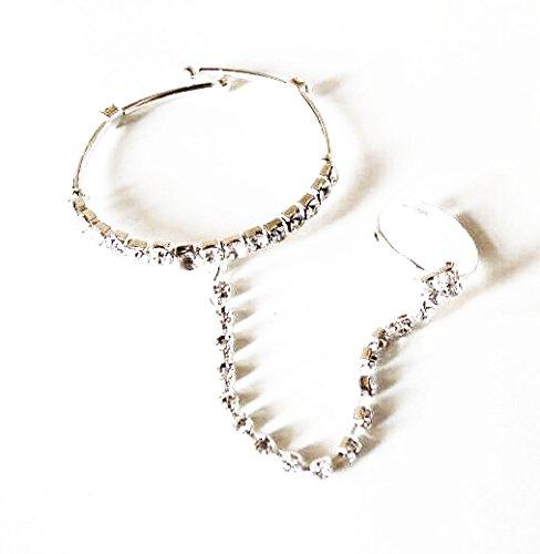 AkinosKIDS Silver Metal Bracelet With Adjoining Ring For Girl