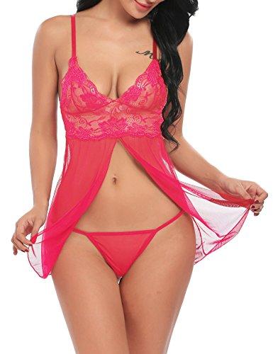HOTOUCH Damen Nachtwäsche Lingerie Dessous Set Babydolls Floral Nachthemd Nachtkleid Mit Tiefem V-Ausschnitt Rose XL