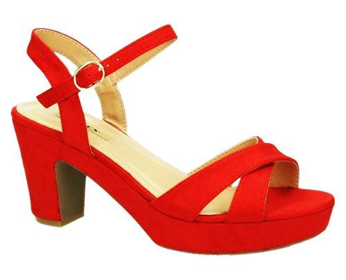 Damen Riemchen Abend Sandaletten High Heels Pumps Slingbacks Velours Peep Toes Blockabsatz Schuhe 150 (38, Rot) Peep Toe Slingback Heels Schuhe