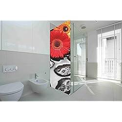 Vinilo para Mamparas baños Margaritas  Varias Medidas 185x60cm   Adhesivo Resistente y de Facil Aplicación   Pegatina Adhesiva Decorativa de Diseño Elegante 