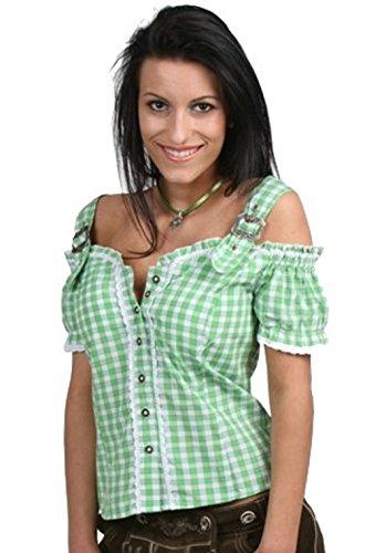 Tolle Damen Trachten Bluse mit Träger in vers. Farben Gr. XS-XXL Deutscher Hersteller (S, grün)