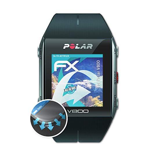 atFoliX Schutzfolie kompatibel mit Polar V800 Folie, ultraklare und Flexible FX Displayschutzfolie (3X)