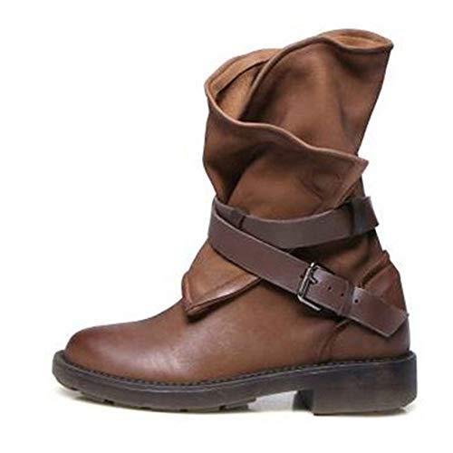 Frauen Stiefel Mode Vintage Mittlere Waden Stiefel Aus Weichem Leder Quadrat Ferse Schnalle Motorradstiefel Herbst Winter Slouch Stiefel -