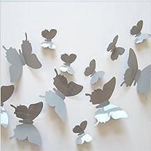 Fu 3D pared pegatinas mariposa 3D-style 12 piezas Decoración de la pared con pegamento gris