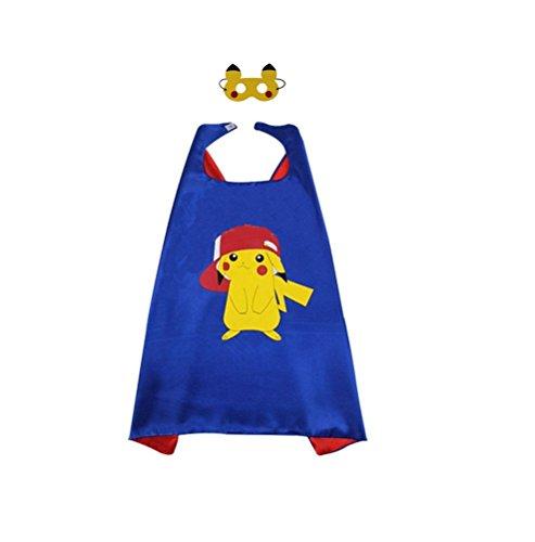 Pikachu Kostüm Tragen (Ducomi® Superhelden-Kostüm mit Kapuze und Umhang - Unisex und Kinder 3 bis 10 Jahre (Pikachu)