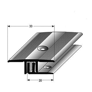 acerto Profil für Laminat (100cm, 7–15mm, APL System 2-teilig inkl. Schrauben und Dübel), silber