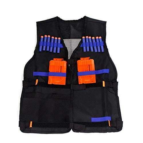 RZRCJ 54x47 cm Kinder Kinder Schwarz Taktische Weste Jacke Weste Munitionshalter Lite Pistole Kugeln Spielzeug Clip Darts (Color : Black)