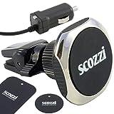 scozzi KFZ Magnet Handy Halterung Lüftung Auto Smartphone Halter magnetisch mit Ladekabel 2400 mAh, auch für r&e Lüftungslamellen z.B. kompatibel mit Nokia Mobiltelefone mit Micro USB Anschluss