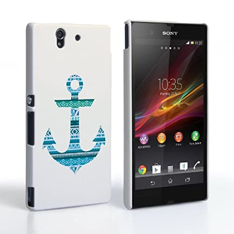 Caseflex Sony Xperia Z Hülle Blau Aztekisch Anker Hart Schutzhülle