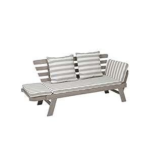greemotion Gartenbank HAWAII aus Holz inkl. Auflagen, Outdoor Gartensofa mit klappbarer Armlehne für Garten, Terrasse & Balkon, Multifunktionsbank für bis zu 2 Personen, Weiß