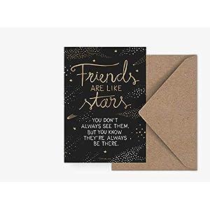 Postkarte - Friends - von typealive - Skandinavische Postkarte mit freundschaftlichem Spruch und Umschlag für jeden Anlass für beste Freundin