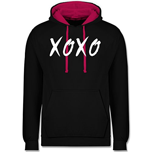 Statement Shirts - XOXO - Hugs and Kisses - Kontrast Hoodie Schwarz/Fuchsia