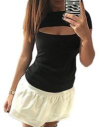 d0295277226 Femmes Rond Col Manche Courte Fendu Décolleté Couleur Unie Fashion Mince  Moulante Amincissant Sauvage Top T