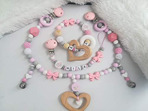 Schnullerkette,Beissring,Kinderwagenkette Set/Einzeln Silikon Perlen,Holz baby Geschenk madchen geburt oder Taufe