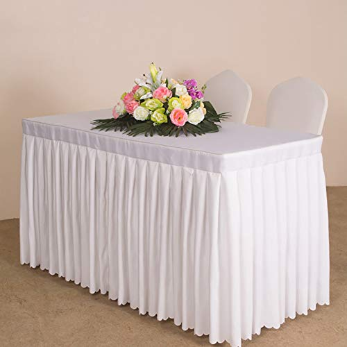 ZIFEI Polyester Bankett Tischdecken,Rechteck Tisch Rock Anzug Heavy-Duty Waschbar Tisch-Abdeckung Für Hotel,Buffet,Restaurant,Hochzeit & Mehr-weiß 240x60x75cm(94x24x30)