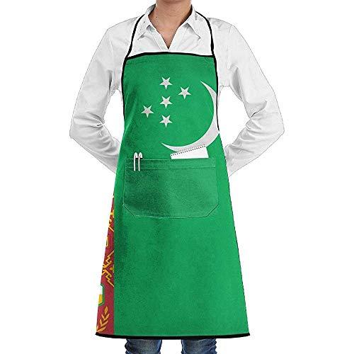 UQ Galaxy Kochschürze,Turkmenistan Flagge Mond Stern Schürze Spitze Unisex Chef Einstellbare Lange vollschwarze Küche Schürzen Lätzchen mit Taschen zum Basteln Garten BBQ (Mann Im Mond Kostüm)