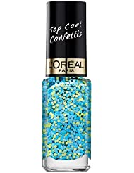 L'Oréal Paris Color Riche Le Vernis Top Coat Confettis Glitzer Nagellack / Glänzender Überlack mit Schimmereffekt in Grün und Blau / 9828 Confetti Blue / 1 x 5ml