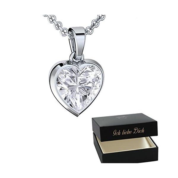 Herzkette Silber 925 ❤ Damen-Kette mit Herz-Anhänger Gravur ... 5c0aa2e5f0