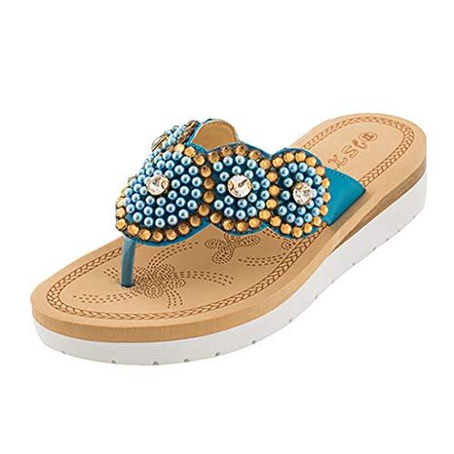 hmen Flacher Flip-Flop Damen lässig Aus den Kulissen Stil String Bead Strand Schuhe ()