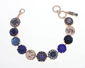 Amaro Jewelry Studio 'Blue Eye' Collection 24K Rose Gold Plated Flower Elements and Hebrew Letters Medallion Links Bracelet Set with Sodalite, Lapis, Blue Onyx, Blue Abalone and Swarovski Crystal Accents