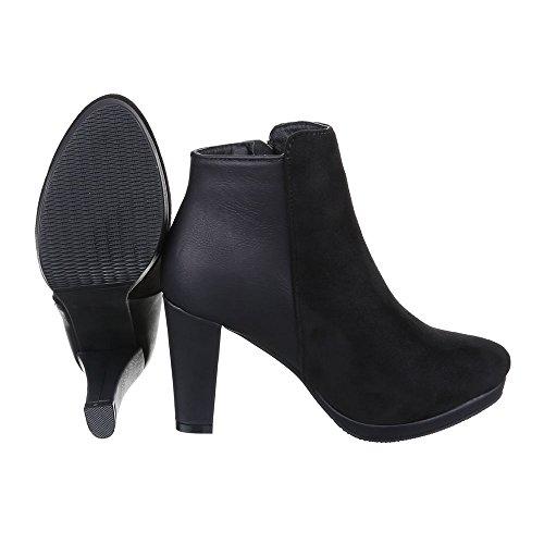 Klassische Stiefeletten Damen Schuhe Schlupfstiefel Pump Leicht Gefütterte Reißverschluss Ital-Design Stiefeletten Schwarz