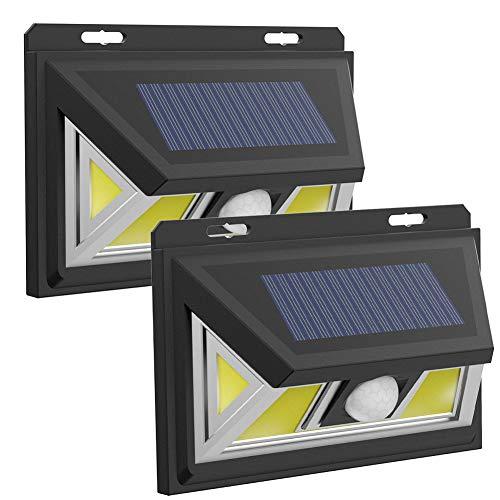Solarleuchten für den Außenbereich, 74 COB Solar-Bewegungsmelder, 2 Modi, superhell, kabellos, solarbetriebene Wandleuchte mit 270° Weitwinkel, IP65 wasserdichte Sicherheit (2 Stück), Schwarz