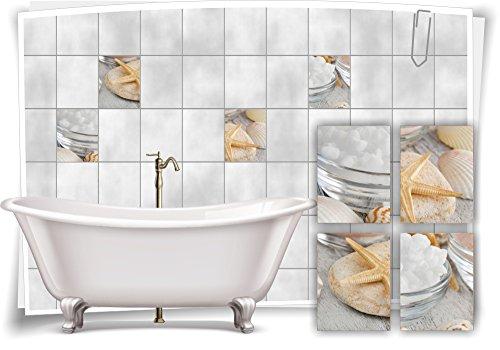 Muschel-salz (Medianlux Fliesenaufkleber Fliesenbild Muschel Seestern Salz Wellness SPA Aufkleber Sticker Fliesen Bad WC, 15x20cm)
