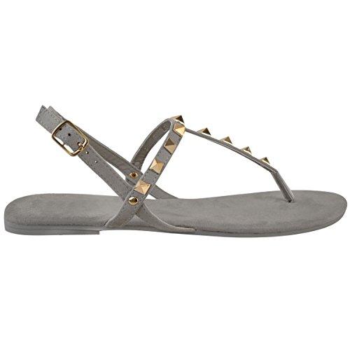 Donna Basse caviglia con spalline BORCHIATO SANDALI ESTIVI INFRADITO SCARPE NUMERI grigio chiaro camoscio sintetico