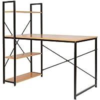 ts-ideen Bureau table étagère réglable intégrée MDF montage à droite à gauche variable secrétaire blanc