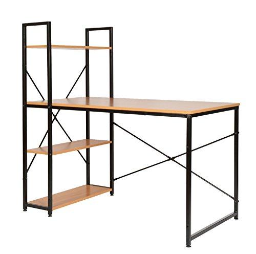 btisch Bürotisch Computertisch Arbeitstisch mit Regal Metallgestell Schwarz ()