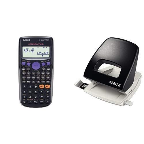 CASIO FX-82DE Plus wissenschaftlicher Taschenrechner / Schulrechner mit 252 Funktionen und natürlichem Display, Batteriebetrieb & Leitz Locher, 25 Blatt, Anschlagschiene mit Formatvorgaben