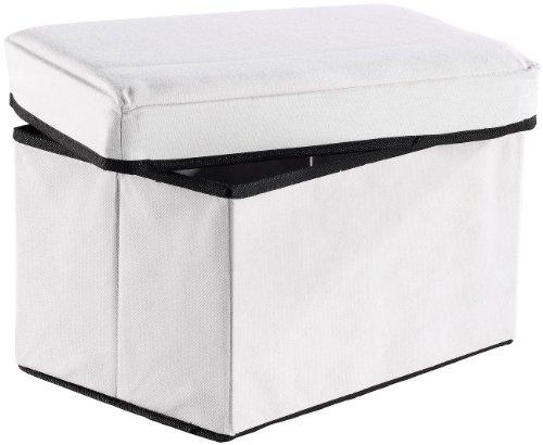 infactory Sitzhocker: 2in1-Aufbewahrungsbox mit integriertem Hocker, weiß (Sitzbox)