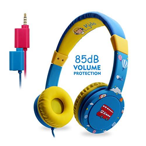 EasySMX Kinderkopfhörer, KM-669 Leicht-Kopfhörer Faltbare verdrahtete 85dB Lautstärke begrenzt mit Mic Kopfhörer Splitter 3,5 mm Klinke Inline Steuerung Über-Ohr Kopfhörer
