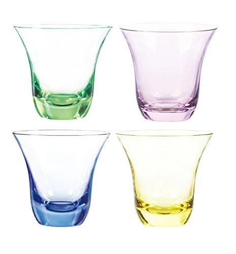 Qualia Glas Aurora Double Old Fashioned Gläser, 11-ounce, smaragd/Rosa/Bernstein/blau, Set 4 Vintage Pilsner Set