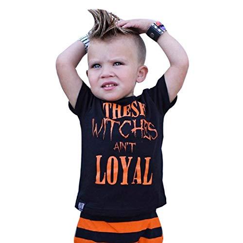 (5 Stück Kinderkleidung Set OHQ Baby Junge Outfits Stil Brief Drucken Tops +Streifen Hosen Set)