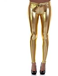 Distressed Metallic Shiny Glanz Leggings Wet Look S~M 34,36,38