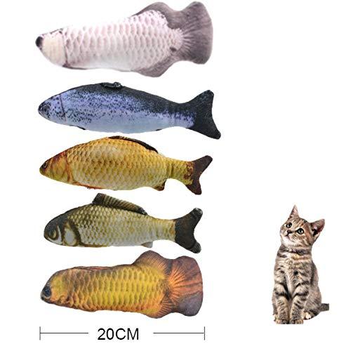 Urase Katzenspielzeug Set Spielzeug mit Katzenminze 5 Stück Katze Simulation Plüsch Fisch Form...
