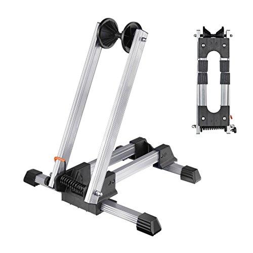 Reliancer Sport-Fahrradständer, zusammenklappbar, Legierung, für 50,8-73,7 cm Fahrräder, für Innenräume, Garage, silberfarben, Silber