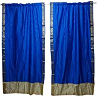 Mogul Interior 2 Indian Sari Curtain Drape Blue Window Treatment Bollywood Party Decor 84x44