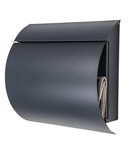 Wandbriefkasten / Briefkasten / Mailbox Modell 888 anthrazit-grau RAL7016 mit Zeitungsfach