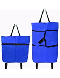 Foldable Shopping Trolley Bag By House Of Quirk Grocery Cart, Utility Trolley Shopping Cart - Blue
