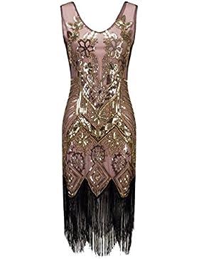 NiSeng Donne 1920s Vestito Abito Anni 20 Vestito Da Sera Paillette Impreziosito Frange Gatsby Vestito Senza Maniche...