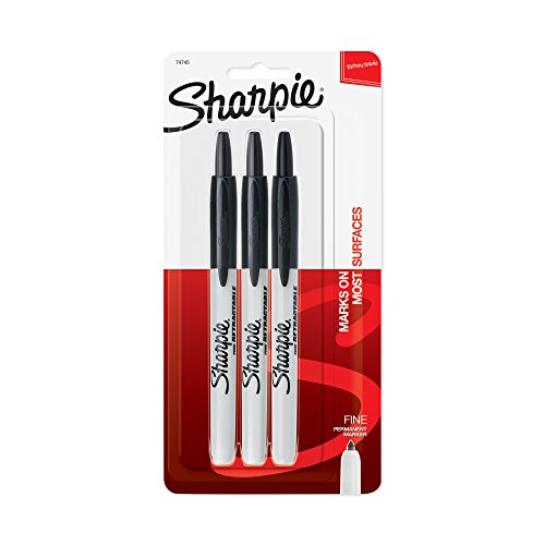 Sharpie Retractable Permanent Markers, Fine Point, Black, 3-Count by - Point, Sharpie 3-pack Fine