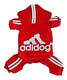 Rdc Pet Adidog Dog Hoodies, Clothes,Fleece Jumpsuit Warm Sweater,4 Legs Cotton Jacket Sweat shirt Coat for Small Dog Medium Dog Large Dog (Red,XL)