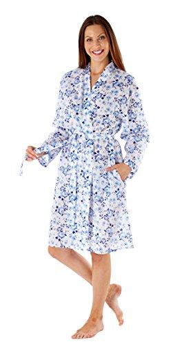 Selena Secrets Florentine Robe de Chambre Kimono Léger Femme Bleu - (Floral) Navy