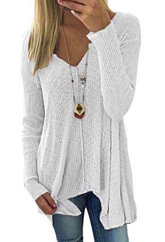 Minetom Pullover Damen Jumper Pulli Strickpullover Sexy Sweatshirt Shirt V Ausschnitt Sweater Oberteil Langarm Frühling Herbst Weiß DE 46 -