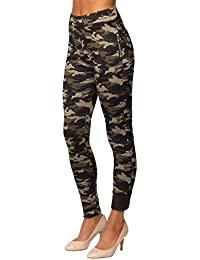 d221a79c8a0417 Womens Camouflage Fur Lined Skinny Thermal Zip Leggings Pants